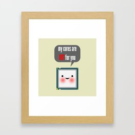 Cute blushing CPU My cores are hot for you Framed Art Print