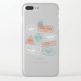 Love To Travel Stamps Clear iPhone Case