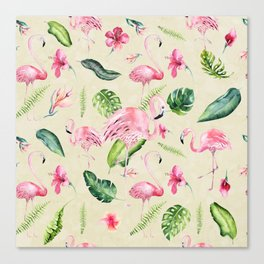 Tropical pink green ivory watercolor flamingo floral Canvas Print