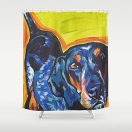 Fun BLUETICK COONHOUND Dog bright colorful Pop Art painting by Lea Shower Curtain