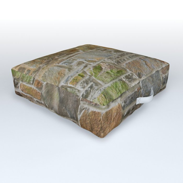 Avondale Brown Stone Wall and Mortar Texture Photography Outdoor Floor Cushion