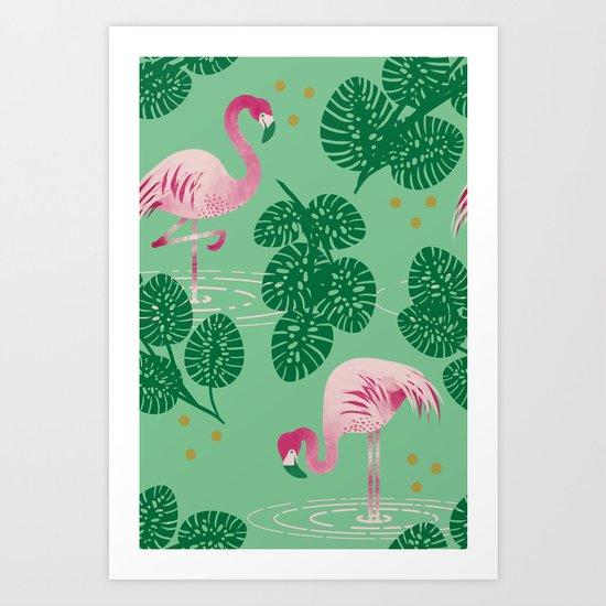 Flamingo Friends Art Print