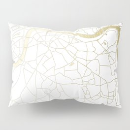 White on Yellow Gold London Street Map Pillow Sham