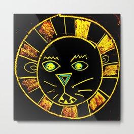 Neon Chalkboard Lion Face GRRR Metal Print