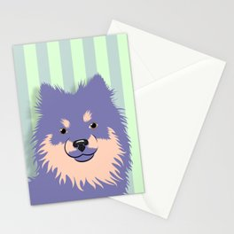 Olie the Pomeranian in Purple Stationery Cards