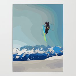 Man on skis, sky jumping, with mountains and blue sky on the backgound Poster
