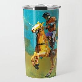 poloplayer abstract turquoise ochre Travel Mug