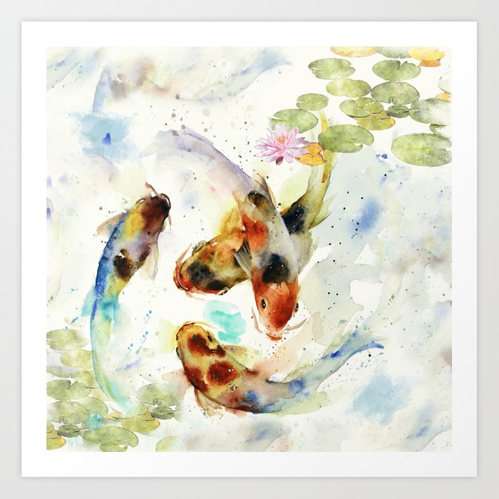 Watercolor Koi Pond Art Print