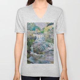 Waterfall - John Henry Twachtman Unisex V-Neck