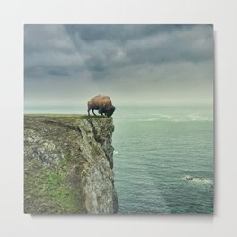 Lonely Buffalo Metal Print