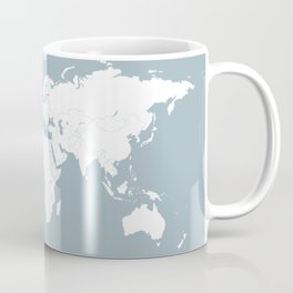 Minimalist World Map in Slate Blue Coffee Mug