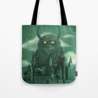 green Tote Bags featuring Age of the Giants  by Terry Fan