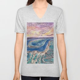 Great Barrier Reef at sunset - aerial view - coral reef - wall art Unisex V-Neck