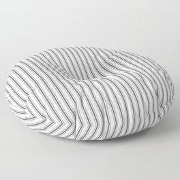 Ticking Narrow Striped Pattern in Dark Black and White Floor Pillow