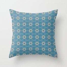 Classic Blue and Cappuchino Repeat Pattern Throw Pillow