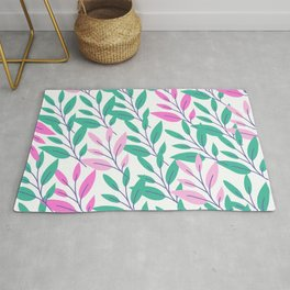 Green and pink leaves print Rug
