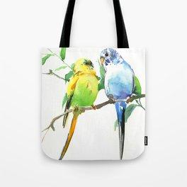 Budgies, Animal art, love, two birds bird artwork, bird pet Tote Bag