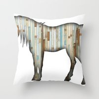 wooden Throw Pillows featuring Wooden horse by Vin Zzep