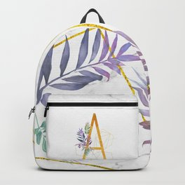 Modern glamorous personalized gold initial letter A, Custom initial name monogram gold alphabe Backpack