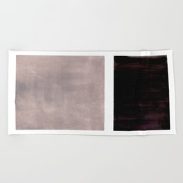 Mid Century Modern Minimalist Art Colorblock Rothko Inspired Squares Grey and Black Simple Abstract Beach Towel