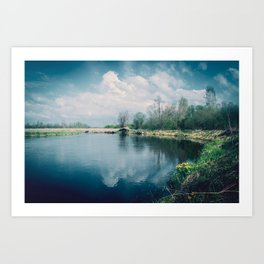 Beautiful landscape with yellow flowers on the river Bank. Art Print