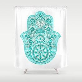 Turquoise Watercolor Hamsa Hand Shower Curtain