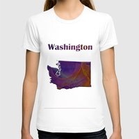washington T-shirts featuring Washington Map by Roger Wedegis