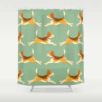 beagle Shower Curtains featuring Beagle Pattern by Celia Krampien