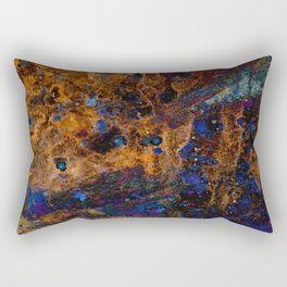 Rusty Brown on Blue Abstract Artwork Rectangular Pillow