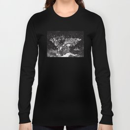 world map galaxy black and white Long Sleeve T-shirt