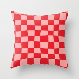 Hand Drawn Checkerboard Pattern (red/pink) Throw Pillow