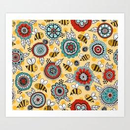 Bees & Blooms Art Print