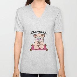 llamaste Llama Namaste Unisex V-Neck