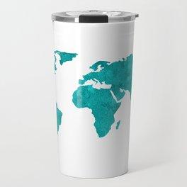 Turquoise Metallic Foil World Map Travel Mug