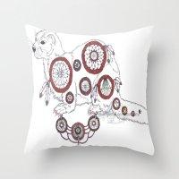 ferret Throw Pillows featuring DreamWarden - Ferret by RekaCryistall