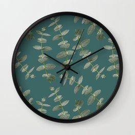 Eucalyptus Patterns with Aqua Background Realistic Botanic Patterns Organic Design with Real Plants Wall Clock