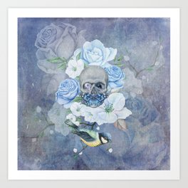 Skull And Butterfly Art Print