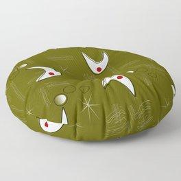Boomerangs on Green Floor Pillow