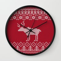 reindeer Wall Clocks featuring  Reindeer by Julia Badeeva