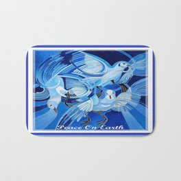 Peace On Earth Greetings With Doves  Bath Mat