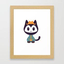 Cute kitten in t-shirt with anchor Framed Art Print