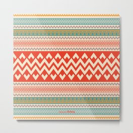 Colorful Aztec Style Pattern Vector Background Metal Print