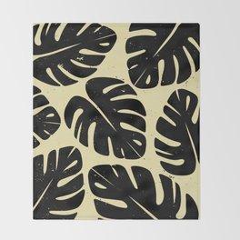 Monstera Leaf Print 2 Throw Blanket