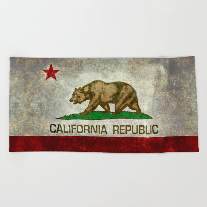 California Republic State Flag Vintage Beach Towel
