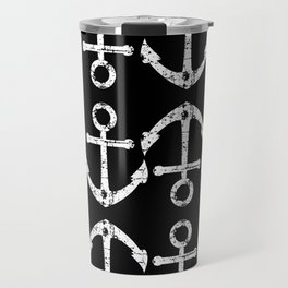 Distressed Anchors Monochromatic Maritime Pattern in Black and White Travel Mug