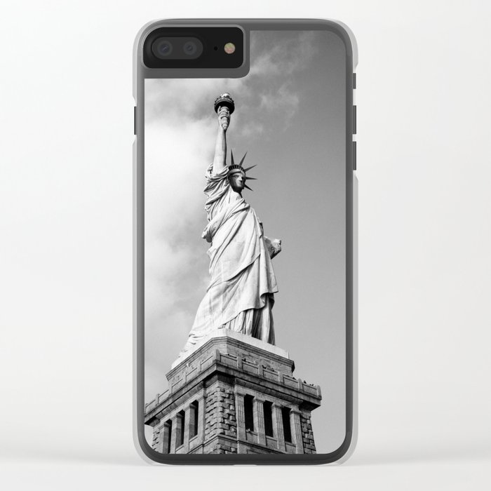statue of liberty 4 black white Clear iPhone Case