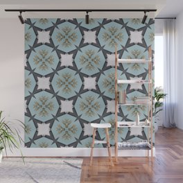 Soft Teal Blue & Gold No. 3 Wall Mural