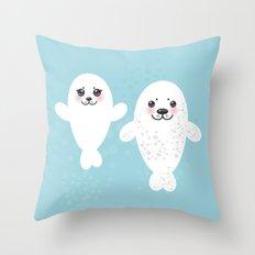 set Funny white fur seal pups, cute winking seals with pink cheeks and big eyes. Kawaii animal Throw Pillow