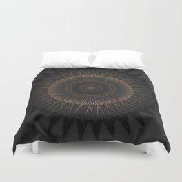 Black Marble and Bronze Modern Mandala Duvet Cover
