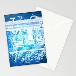 Type Writing Machine Patent Blueprint Drawing Stationery Cards